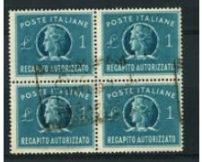 1947 - LOTTO/16768 - REPUBBLICA - 1 LIRA RECAPITO - QUARTINA USATA