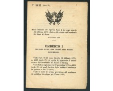 1880 - LOTTO/17214 - REGNO - REGIO DECRETO RE UMBERTO I°