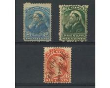 1870/90 - LOTTO/17368 - CANADA -  BILL STAMP 3 FRANCOBOLLI FISCALI  ANNULLATI.
