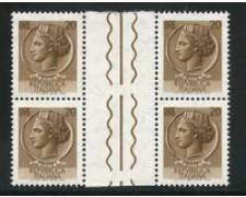 1968 - LOTTO/17421Q - REPUBBLICA - 20 LIRE SIRACUSANA - QUARTINA INTERSPAZIO