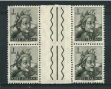 1961 - LOTTO/17424QI - REPUBBLICA - 1 LIIRA MICHELANGIOLESCA - QUARTINA