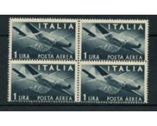 1946 - LOTTO/17426Q - REPUBBLICA - 1 LIRA POSTA AEREA - QUARTINA