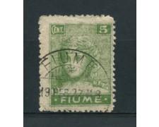 1919 - LOTTO/17433A - FIUME - 5c. VERDE CARTA SOTTILE - USATO
