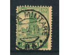 1919 - LOTTO/17434 - FIUME - 20c. VERDE ANNULLO POSTA MILITARE