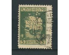 1923 - LOTTO/15435 - FIUME - 5c. VERDE S.VITO - USATO PERFIN