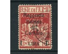 1920 - LOTTO/17504 - FIUME - 1 LIRA SU 10c.  REGGENZA CARNARO - USATO