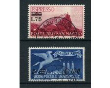 1957 - LOTTO/17566 - SAN MARINO - ESPRESSI SOPRASTAMPATI 2v. - USATI