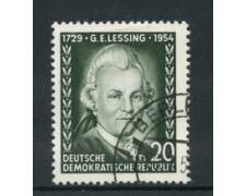 1954 - LOTTO/17662 - GERMANIA DDR - 20p. G.E. LESSING - USATO