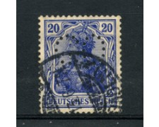 1905 - LOTTO/17697 - GERMANIA - 20p. AZZURRO VIOLETTO  PERFIN - USATO