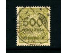 1923 - LOTTO/17905 - GERMANIA REICH - 500Mn. OLIVA - USATO