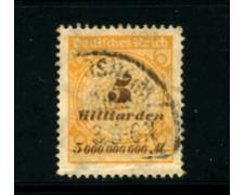 1923 - LOTTO/17909 - GERMANIA REICH - 5Md. OCRA BRUNO - USATO