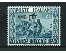 1951 - LOTTO/17970 - TRIESTE A - 20 Lire CRISTOFORO COLOMBO - NUOVO