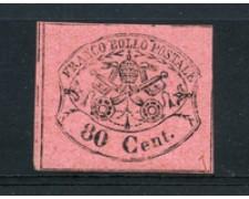 STATO PONTIFICIO - 1867 - LOTTO/18291 - 80 CENT. ROSA LILLACEO - NUOVO