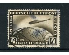 1928 - LOTTO/18603 - GERMANIA REICH - 4m. ZEPPELIN - USATO DIFETTOSO