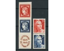 1949 - LOTTO/18652 - FRANCIA - CENTENARIO FRANCOBOLLO 4v. - LING.