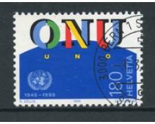 1995 - LOTTO/18666 - SVIZZERA -  50°  ONU - QUARTINA USATA