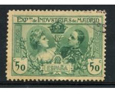 1907 - LOTTO/18674 - SPAGNA - 50c. ESPOSIZIONE MADRID - USATO