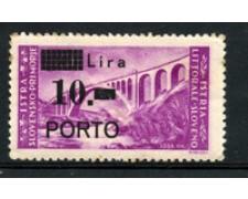 1946 - LOTTO/18697 - ISTRIA  LITORALE SLOVENO -  10  LIRE SU 30 LIRE - LING
