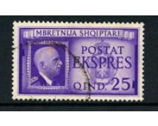 1940 - LOTTO/18727 - ALBANIA ITALIANA - 25c. ESPRESSO - USATO