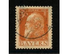 1911 - LOTTO/18736 - BAVIERA - 30p. ARANCIO  II° TIPO - USATO
