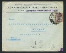 PERU' - 1921 - LOTTO/18820 - BUSTA DA LIMA PER MILANO