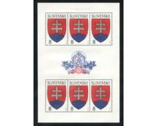 1993 - LOTTO/19457 - SLOVACCHIA - 8 K. POSTA ORDINARIA - MINIFOGLIO