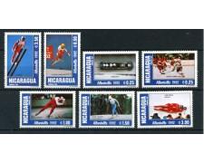 1991 - NICARAGUA - OLIMPIADI DI ALBERTVILLE 7v. - NUOVI
