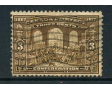 1917 - LOTTO/20446 - CANADA - 3c. ANNIV.CONFEDERAZIONE - USATO