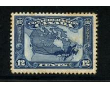 1927 - LOTTO/20491 - CANADA - 12c. BLU CONFEDERAZIONE - LING.