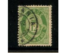 1877 - LOTTO/20524 - NORVEGIA - 12 ore VERDE - USATO