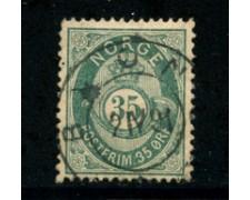 1877 - LOTTO/20526 - NORVEGIA - 35 ore VERDE AZZURRO - USATO