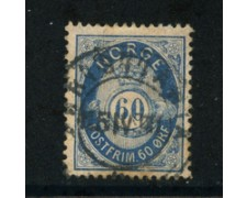 1877 - LOTTO/20528 - NORVEGIA - 60 ore AZZURRO BLU - USATO