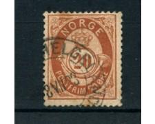 1882 - LOTTO/20531 - NORVEGIA - 20 ore BRUNO GIALLO  USATO