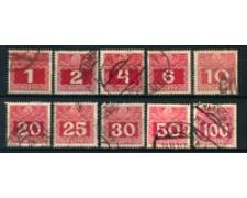 1908 - LOTTO/20576 - AUSTRIA - SEGNATASSE 10v. - USATI