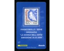 2004 - LOTTO/20913 - REPUBBLICA - 65c. DONNA NELL'ARTE - TESSERA FILAT.