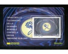 2005 - LOTTO/20962 - REPUBBLICA - 45c. LOTTA ALLA DROGA - TESSERA FILAT.