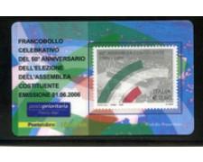 2006 - LOTTO/20981 - REPUBBLICA - 60c. ASSEMBLEA COSTITUENTE - TESSERA FILAT.