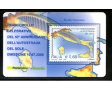 2006 - LOTTO/20985 - REPUBBLICA - 60c. AUTOSTRADA DEL SOLE - TESSERA FILAT.