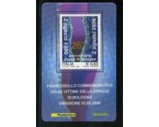 2006 - LOTTO/20986 - REPUBBLICA - 60c. STRAGE DI BOLOGNA - TESSERA FILAT.