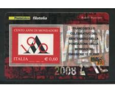 2007 - LOTTO/21017 - REPUBBLICA - 60c. CENTENARIO MONDADORI - TESSERA FILAT.