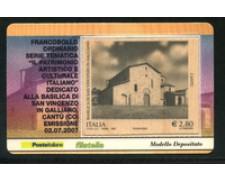 2007 - LOTTO/21018 - REPUBBLICA - 2,80 euro  BASILICA DI CANTU' - TESSERA FILAT.