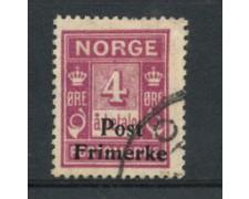 1929 - LOTTO/21026 - NORVEGIA - 4 ore LILLA ROSA - USATO