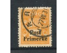 1929 - LOTTO/21031 - NORVEGIA - 100 ore GIALLO ARANCI0 - USATO