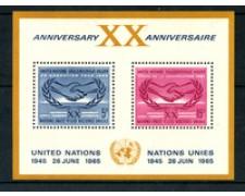 1965 - LOTTO/21367 - ONU U.S.A - XX° ANNIVERSARIO ONU FOGLIETTO - NUOVO