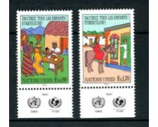 1987 - LOTTO/21439A - ONU SVIZZERA - VACCINAZIONI BAMBINI 2v. - NUOVI CON APP.