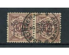 WURTTEMBERG - 1890 - LOTTO/21839 - 50p. BRUNO LILLA COPPIA  PERFIN USATI