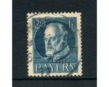 BAVIERA - 1914 - LOTTO/21865 - 20p. AZZURRO USATO