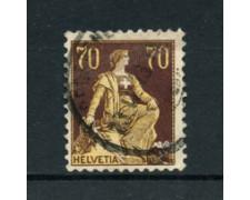 1908 - LOTTO/21929 - SVIZZERA - 70c. BRUNO GIALLO HELVETIA SEDUTA - USATO