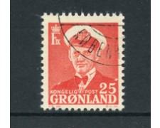 GROENLANDIA - 1950/60 - LOTTO/21958 - 25 o. ROSSO RE FEDERICO IX - USATO