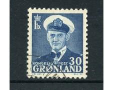 GROENLANDIA - 1950/60 - LOTTO/21959 - 30 o. AZZURRO RE FEDERICO IX - USATO